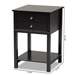 Baxton Studio Willow Modern Transitional Black Finished 2-Drawer Wood Nightstand - SR1801426-Black-NS