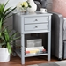 Baxton Studio Willow Modern Transitional Light Grey Finished 2-Drawer Wood Nightstand - SR1801426-Light Grey-NS