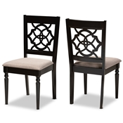 Baxton Studio Renaud Modern and Contemporary Sand Fabric Upholstered and Espresso Brown Finished Wood 2-Piece Dining Chair Set Set Baxton Studio restaurant furniture, hotel furniture, commercial furniture, wholesale dining room furniture, wholesale dining chairs, classic dining chairs