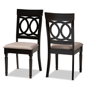 Baxton Studio Lucie Modern and Contemporary Sand Fabric Upholstered and Espresso Brown Finished Wood 2-Piece Dining Chair Set Set Baxton Studio restaurant furniture, hotel furniture, commercial furniture, wholesale dining room furniture, wholesale dining chairs, classic dining chairs