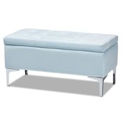 Baxton Studio Mabel Modern and Contemporary Transitional Light Blue Velvet Fabric Upholstered Silver Finished Storage Ottoman