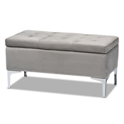 Baxton Studio Mabel Modern and Contemporary Transitional Grey Velvet Fabric Upholstered Silver Finished Storage Ottoman