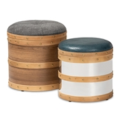 Baxton Studio Caleb Modern and Contemporary Glam Grey Fabric and Blue Alligator Faux Leather Upholstered 2-Piece Wood and Metal Storage Ottoman Set