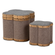 Baxton Studio Marilyn Modern and Contemporary Transitional Grey and Brown Fabric Upholstered 2-Piece Clover Shaped Storage Ottoman Set