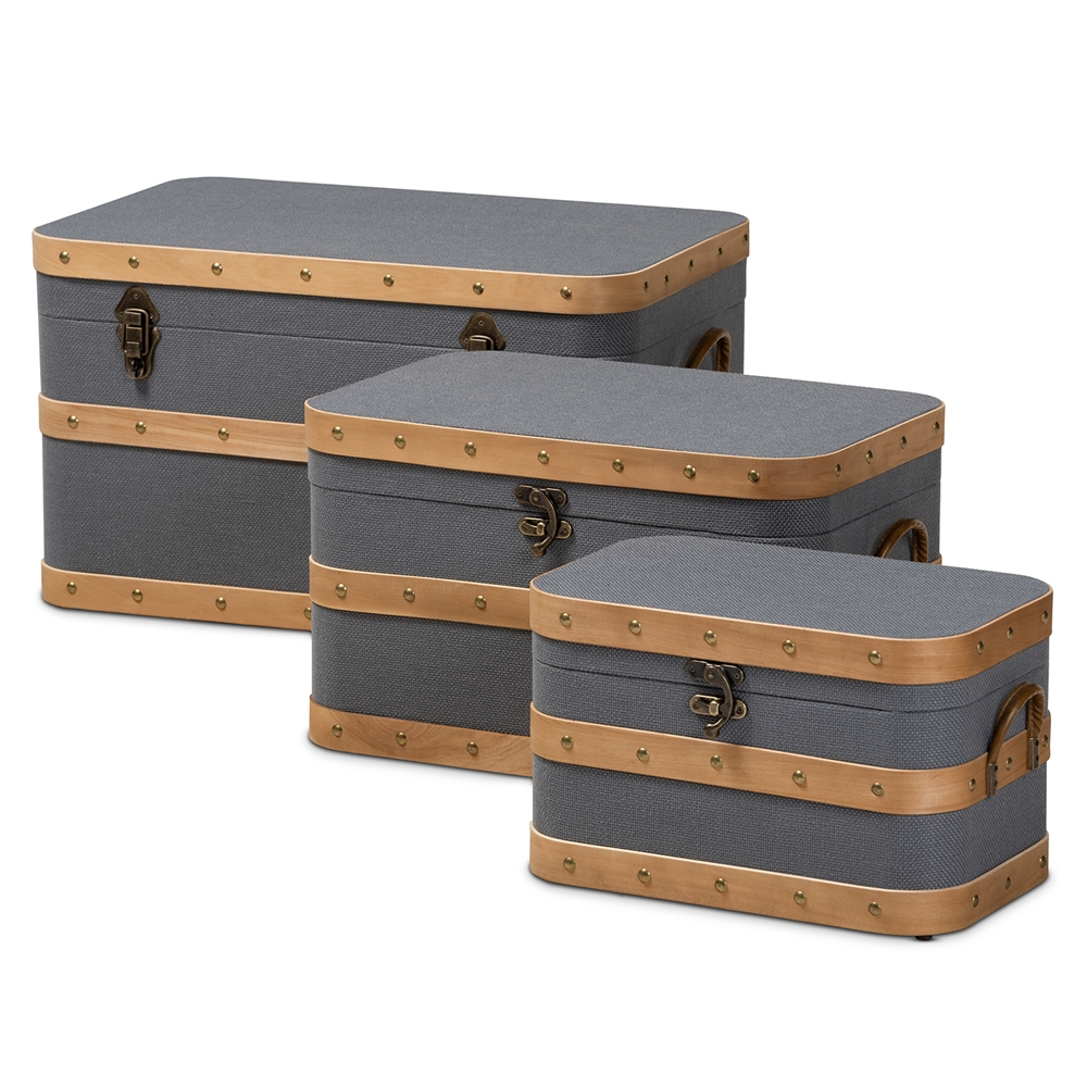 Baxton Studio Jonathon Modern and Contemporary Transitional Grey Fabric Upholstered and Oak Brown Finished 3-Piece Storage Trunk Set