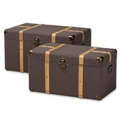 Baxton Studio Stephen Modern and Contemporary Transitional Dark Brown Fabric Upholstered and Oak Brown Finished 2-Piece Storage Trunk Set