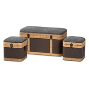 Baxton Studio Clarence Modern and Contemporary Transitional Dark Grey and Dark Brown Fabric Upholstered Oak Brown Finished 3-Piece Storage Ottoman Trunk Set