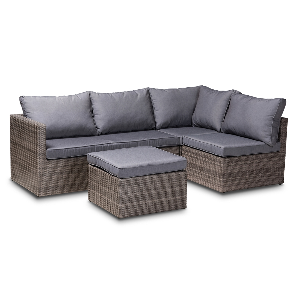 Baxton Studio Pamela Modern and Contemporary Grey Polyester Upholstered and Brown Finished 4-Piece Woven Rattan Outdoor Patio Set