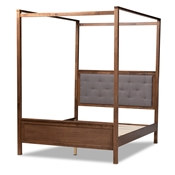 Baxton Studio Natasha Modern and Contemporary Grey Fabric Upholstered and Walnut Brown Finished Wood Queen Size Platform Canopy Bed