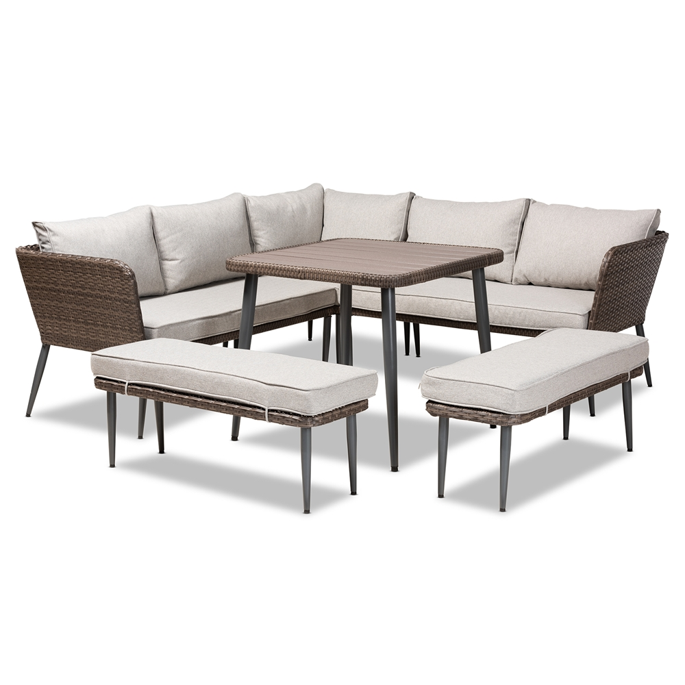 Baxton Studio Lillian Modern and Contemporary Light Grey Upholstered and Brown Finished 5-Piece Woven Rattan Outdoor Patio Set