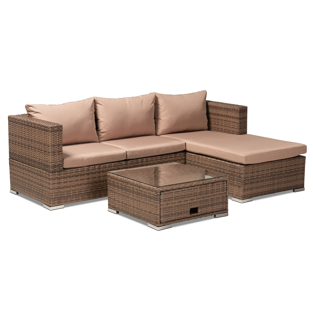 Baxton Studio Addison Modern and Contemporary Light Brown Upholstered and Brown Finished 3-Piece Woven Rattan Outdoor Patio Set with Adjustable Recliner