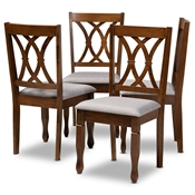 Baxton Studio Augustine Modern and Contemporary Grey Fabric Upholstered and Walnut Brown Finished Wood 4-Piece Dining Chair Set Set Baxton Studio restaurant furniture, hotel furniture, commercial furniture, wholesale dining room furniture, wholesale dining chairs, classic dining chairs