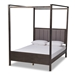 Baxton Studio Natasha Modern and Contemporary Grey Fabric Upholstered and Dark Grey Oak Finished Wood Queen Size Platform Canopy Bed