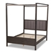 Baxton Studio Natasha Modern and Contemporary Grey Fabric Upholstered and Dark Grey Oak Finished Wood Queen Size Platform Canopy Bed - MG0021-2-Gray/Green Gray-Queen