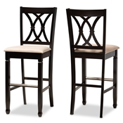 Baxton Studio Calista Modern and Contemporary Sand Fabric Upholstered and Espresso Brown Finished Wood 2-Piece Bar Stool Set