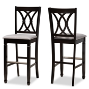Baxton Studio Calista Modern and Contemporary Grey Fabric Upholstered and Espresso Brown Finished Wood 2-Piece Bar Stool Set