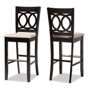 Baxton Studio Carson Modern and Contemporary Sand Fabric Upholstered and Espresso Brown Finished Wood 2-Piece Bar Stool Set