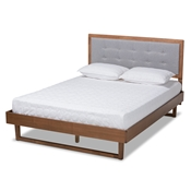 Baxton Studio Viviana Modern and Contemporary Light Grey Fabric Upholstered and Ash Walnut Finished Wood Queen Size Platform Bed