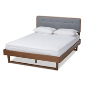 Baxton Studio Natalia Mid-Century Modern Dark Grey Fabric Upholstered and Ash Walnut Finished Wood Queen Size Platform Bed
