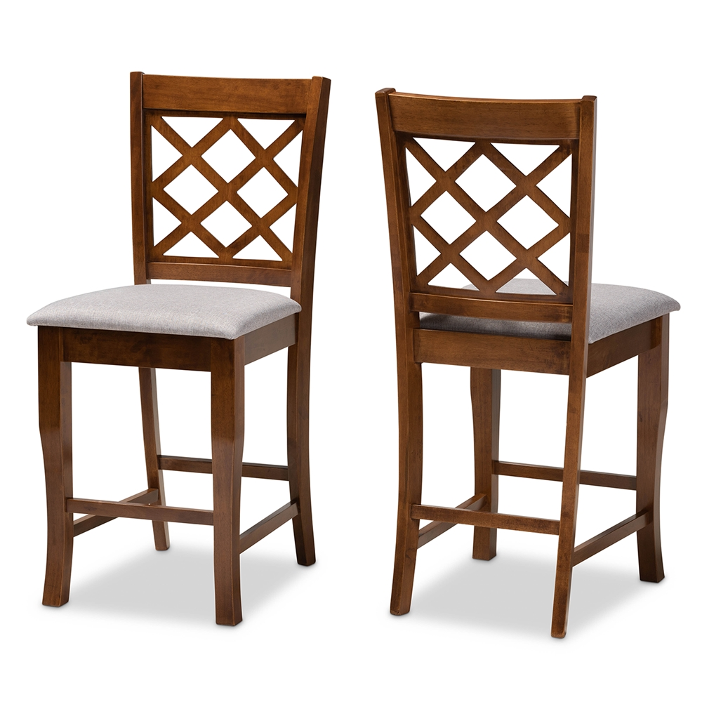 Baxton Studio Aria Modern and Contemporary Grey Fabric Upholstered and Walnut Brown Finished Wood 2-Piece Counter Height Pub Chair Set