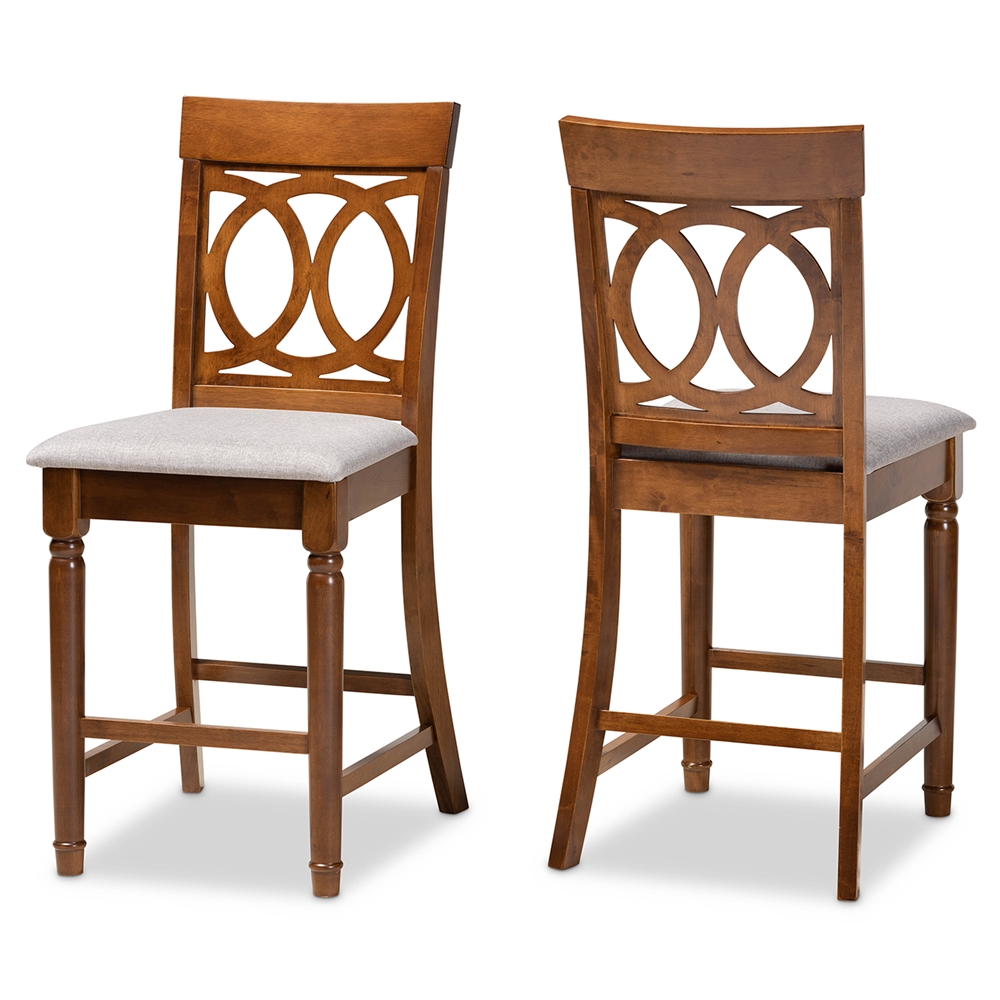 Baxton Studio Violet Modern and Contemporary Grey Fabric Upholstered and Walnut Brown Finished Wood 2-Piece Counter Height Pub Chair Set
