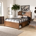 Baxton Studio Riko Modern and Contemporary Transitional Walnut Brown Finished Wood Queen Size Platform Storage Bed - MG0029-Walnut-Queen
