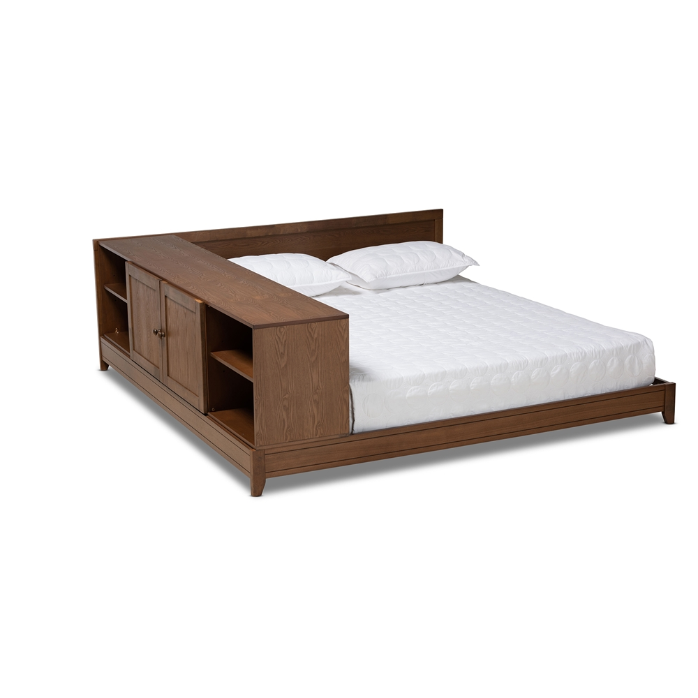 Baxton Studio Kaori Modern and Contemporary Transitional Walnut Brown Finished Wood Queen Size Platform Storage Bed