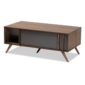 Baxton Studio Naoki Modern and Contemporary Two-Tone Grey and Walnut Finished Wood 1-Drawer Coffee Table
