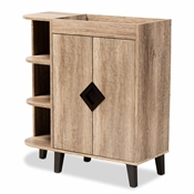 Baxton Studio Wales Modern and Contemporary Rustic Oak Finished Wood 2-Door Shoe Storage Cabinet with Open Shelves