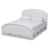 Baxton Studio Elise Classic and Traditional Transitional White Finished Wood Queen Size Storage Platform Bed Baxton Studio restaurant furniture, hotel furniture, commercial furniture, wholesale bedroom furniture, wholesale queen, classic queen