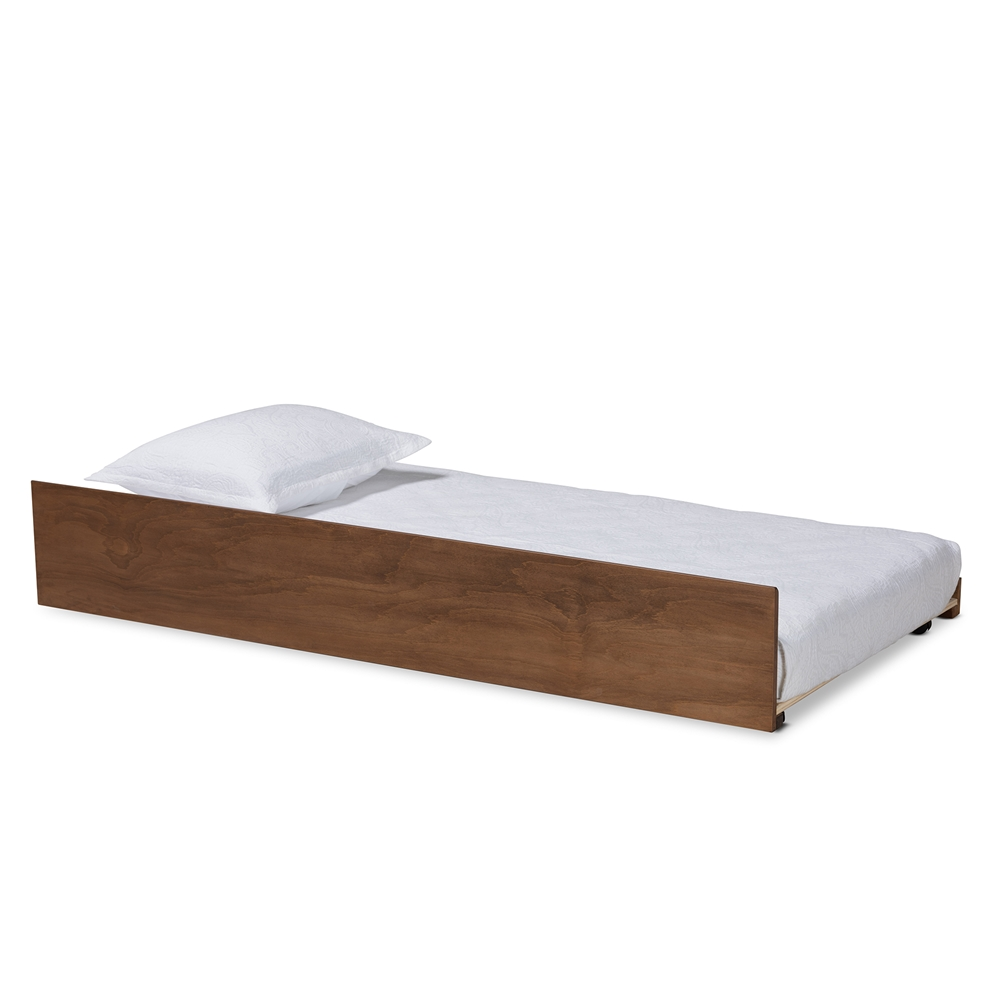 Baxton Studio Midori Modern and Contemporary Transitional Walnut Brown Finished Wood Twin Size Trundle Bed