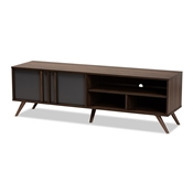 Baxton Studio Naoki Modern and Contemporary Two-Tone Grey and Walnut Finished Wood 2-Door TV Stand