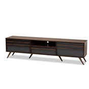 Baxton Studio Naoki Modern and Contemporary Two-Tone Grey and Walnut Finished Wood TV Stand with Drop-Down Compartments