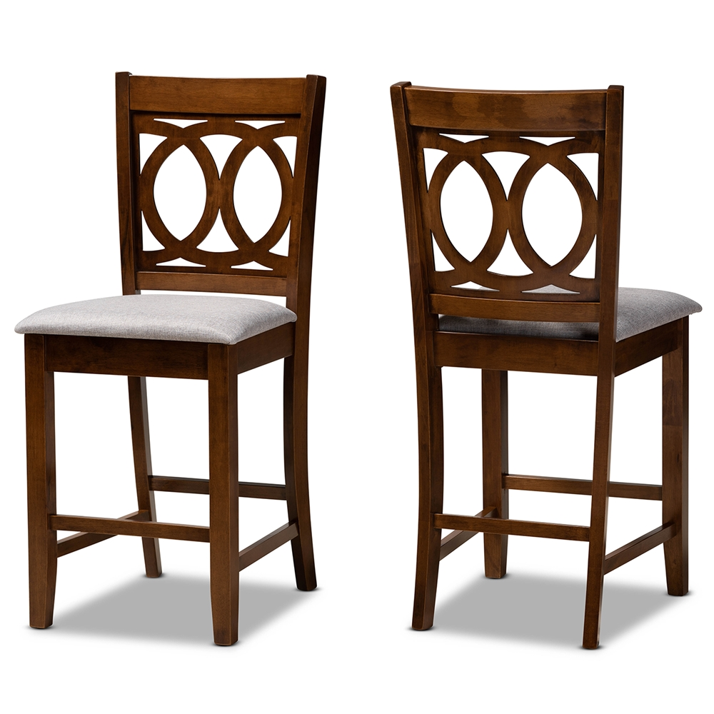 Baxton Studio Lenoir Modern and Contemporary Grey Fabric Upholstered Walnut Brown Finished Wood 2-Piece Counter Height Pub Chair Set