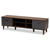 Baxton Studio Moina Mid-Century Modern Two-Tone Walnut Brown and Grey Finished Wood TV Stand