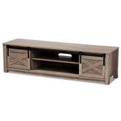 Baxton Studio Bruna Modern and Contemporary Farmhouse White-Washed Oak Finished TV Stand