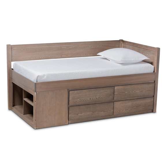 Baxton Studio Levon Modern and Contemporary Antique Oak Finished Wood 4-Drawer Twin Size Storage Bed