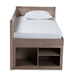 Baxton Studio Levon Modern and Contemporary Antique Oak Finished Wood 4-Drawer Twin Size Storage Bed - MG0042-Antique Oak-Twin