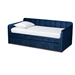 Baxton Studio Jona Modern and Contemporary Transitional Navy Blue Velvet Fabric Upholstered and Button Tufted Twin Size Daybed with Trundle