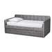 Baxton Studio Jona Modern and Contemporary Transitional Grey Velvet Fabric Upholstered and Button Tufted Twin Size Daybed with Trundle