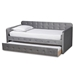 Baxton Studio Jona Modern and Contemporary Transitional Grey Velvet Fabric Upholstered and Button Tufted Twin Size Daybed with Trundle - CF9183-Grey-Daybed-T/T
