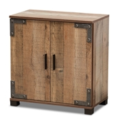 Baxton Studio Cyrille Modern and Contemporary Farmhouse Rustic Finished Wood 2-Door Shoe Cabinet
