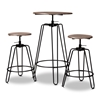 Baxton Studio Veera Vintage Industrial Rustic Walnut Finished Wood and Black Metal 3-Piece Height Adjustable Bar Pub Set