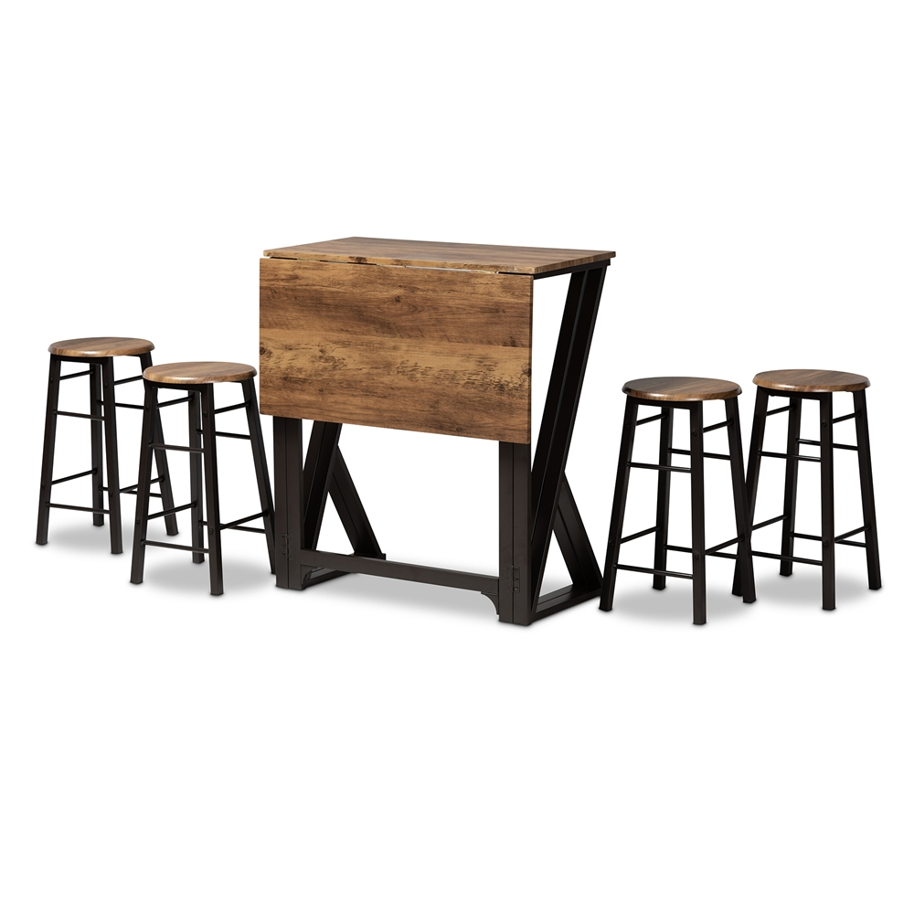 Baxton Studio Richard Industrial and Rustic Walnut Finished Wood and Black Metal 5-Piece Pub Set with Extendable Tabletop