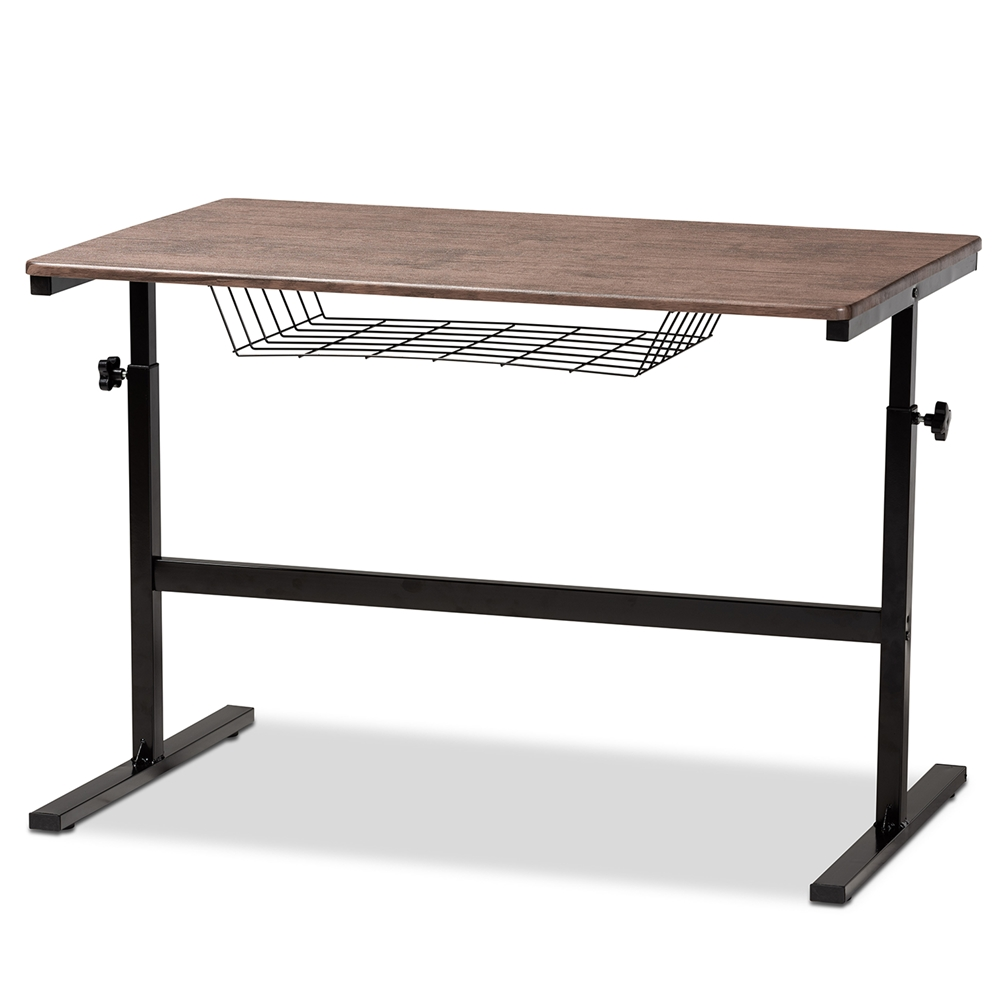 Baxton Studio Anisa Modern and Industrial Walnut Finished Wood and Black Metal Height Adjustable Desk