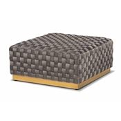 Baxton Studio Noah Luxe and Glam Grey Velvet Fabric Upholstered and Gold Finished Square Cocktail Ottoman