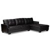 Baxton Studio Modern and Contemporary Dobson Black Leather Modern Sectional Sofa with White Stitching Baxton Studio restaurant furniture, hotel furniture, commercial furniture, wholesale living room furniture, wholesale sectional sofa, classic sectional sofa