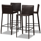 Baxton Studio Malcom Modern and Contemporary Brown Faux Leather Upholstered 4-Piece Bar Stool