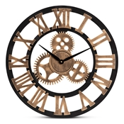 Baxton Studio Randolph Industrial Vintage Style Black and Distressed Brown Finished Wood Wall Clock Baxton Studio restaurant furniture, hotel furniture, commercial furniture, wholesale living room furniture, wholesale clocks, classic clocks