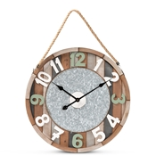 Baxton Studio Garrison Vintage Farmhouse Silver Metal and Multicolored Wood Wall Clock Baxton Studio restaurant furniture, hotel furniture, commercial furniture, wholesale living room furniture, wholesale clocks, classic clocks